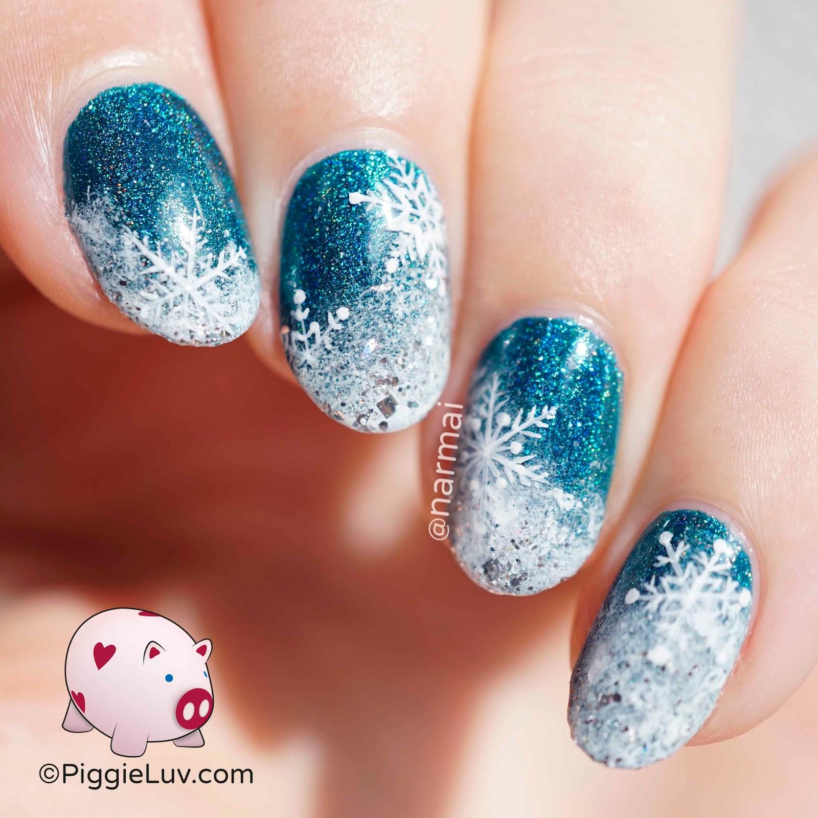 Snowflake Nail Art Tutorial: PiggieLuv: Flakage! Snow Nail Art Tutorial