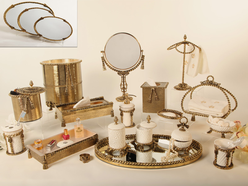 Vintage styled bathroom accessories sets yonehome for Gold bathroom accessories