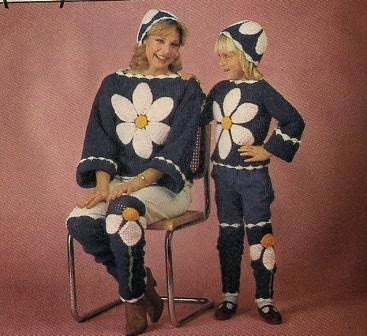 crchet vintage daisy suits