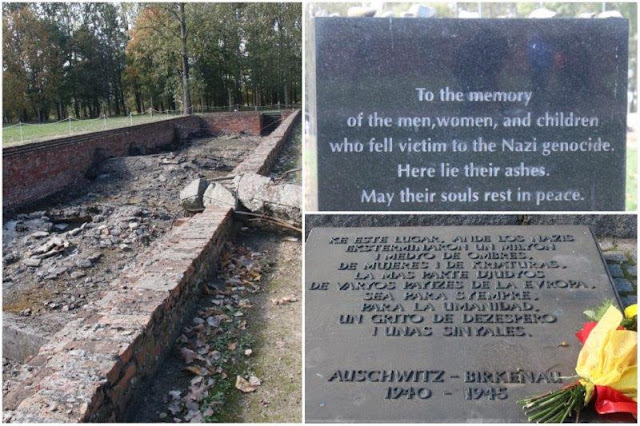 Ruinas de la cámara de gas y del crematorio numero III – Placas conmemorativas – Monumento Internacional a las Victimas del Campo en distintos idiomas en el campo de concentración de Auschwitz II - Birkenau
