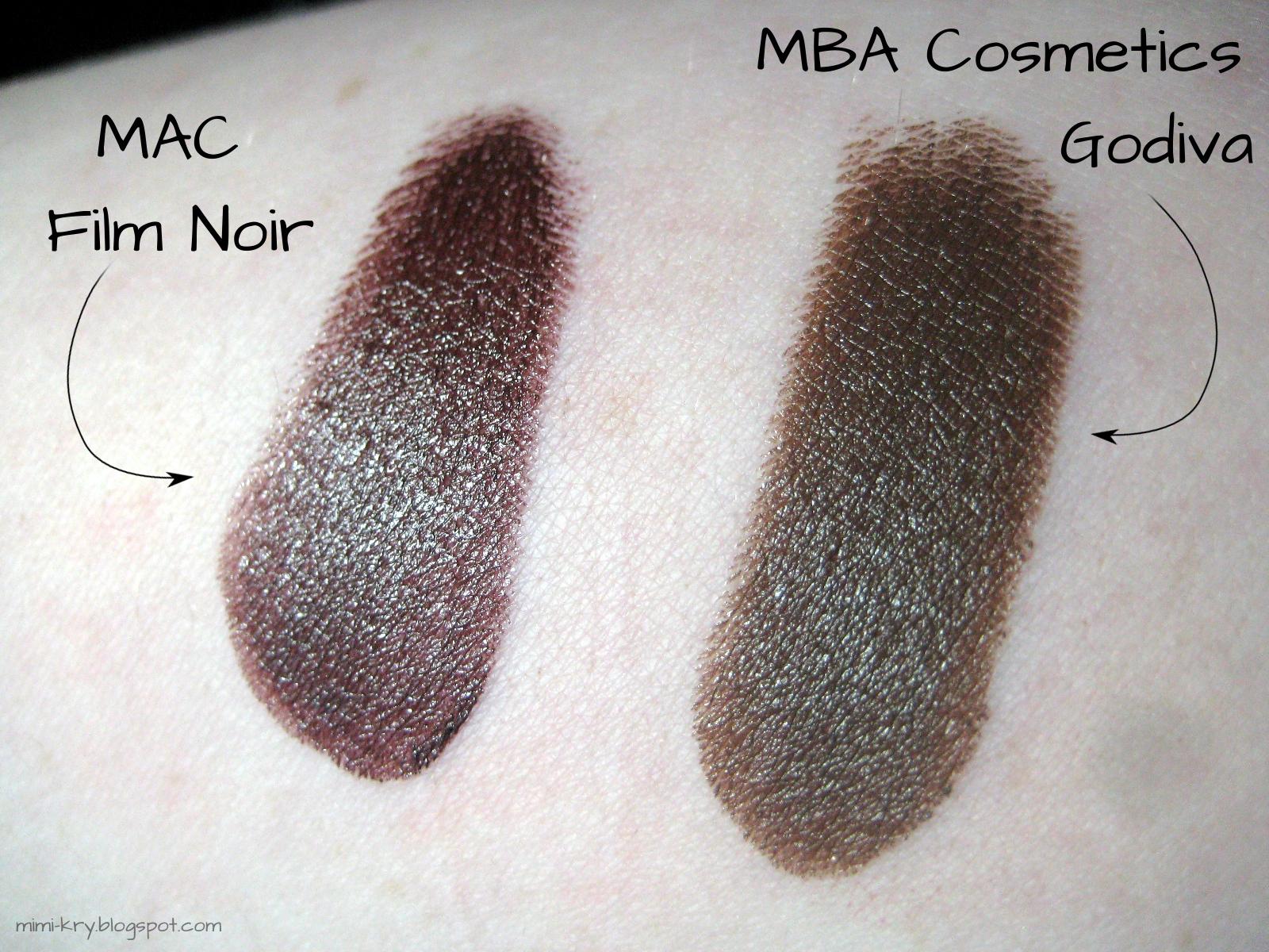"""Vergleich MAC """"Film Noir"""" und MBA Cosmetics """"Godiva"""""""