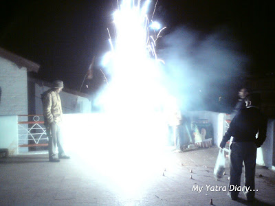 Dazzling display of fireworks outside the Badrinath Temple in the Garhwal Himalayas