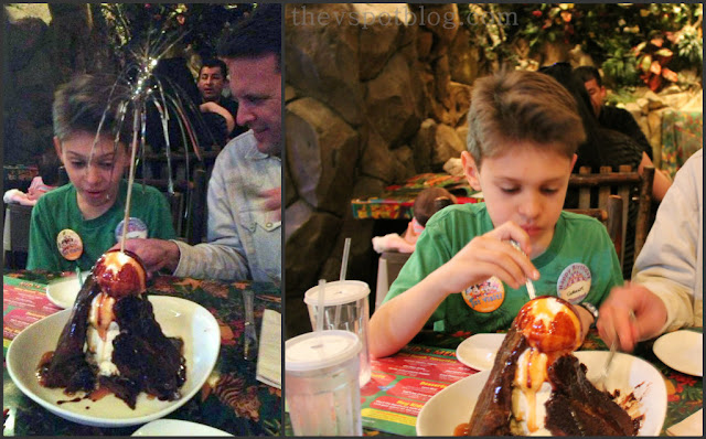 ice cream, rainforest cafe, sundae, hot fudge, birthday, sparkler, volcano sundae, dessert