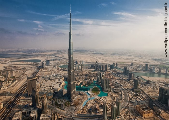 burj khalifa dubai from plane view