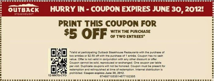 Coupon outback steakhouse 2018