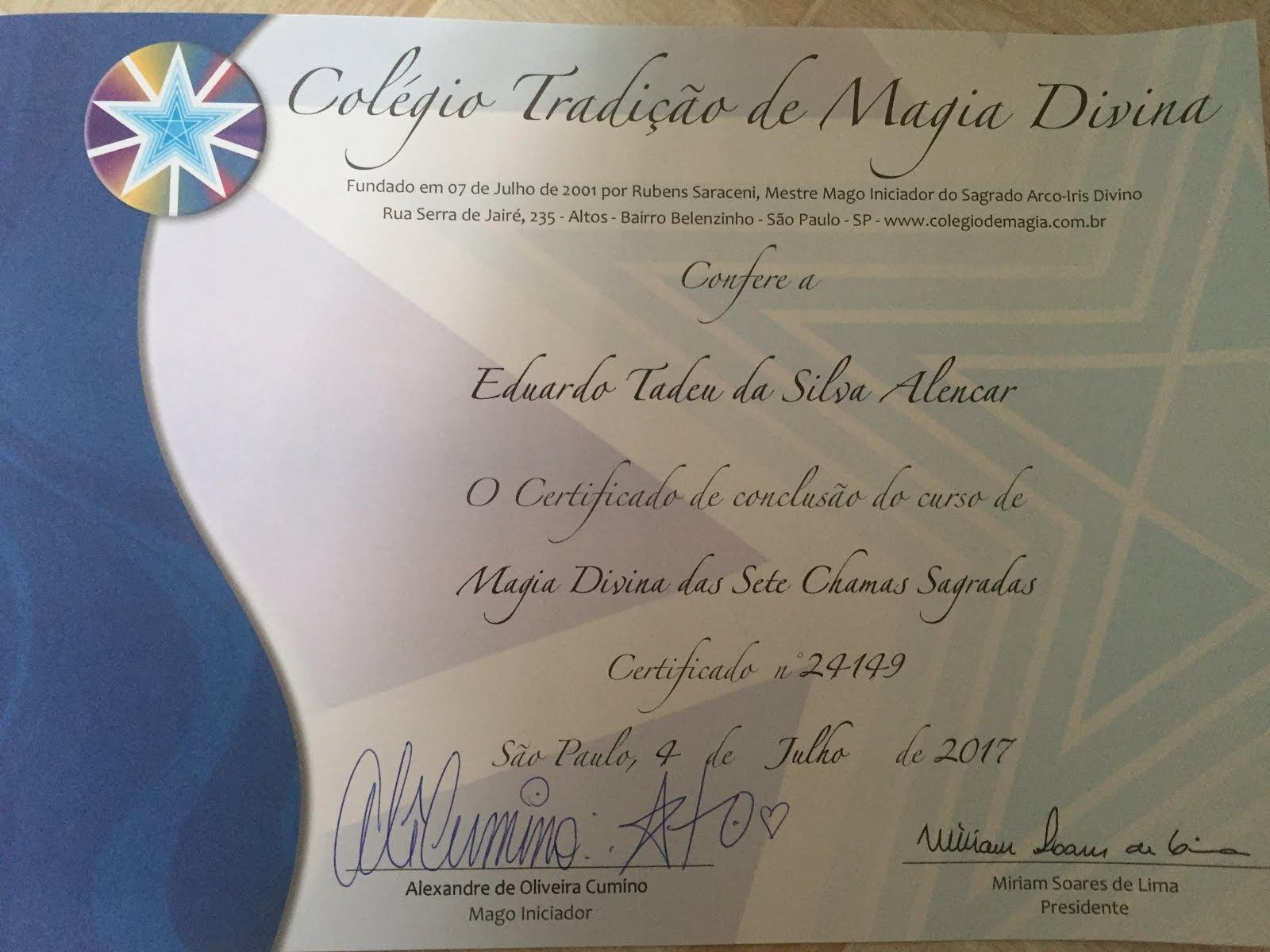 Certificado: Magia Divina das Sete Chamas Sagradas