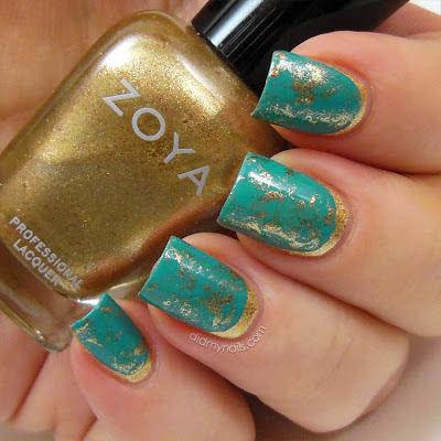 saran wrap ruffian manicure with Zoya Ziv