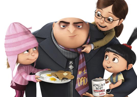 Gru with the orphan girls in Despicable Me 2010 animatedfilmreviews.blogspot.com