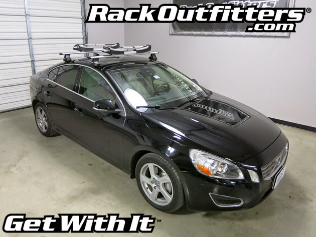 Attractive Volvo S60 Thule Silver AeroBlade Roof Rack With Thule 810 SUP Taxi