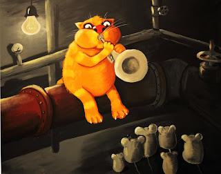 Good cat playing trumpet sitting on pipe, mice listening to him, funny pictures, comics, caricatures, paintings