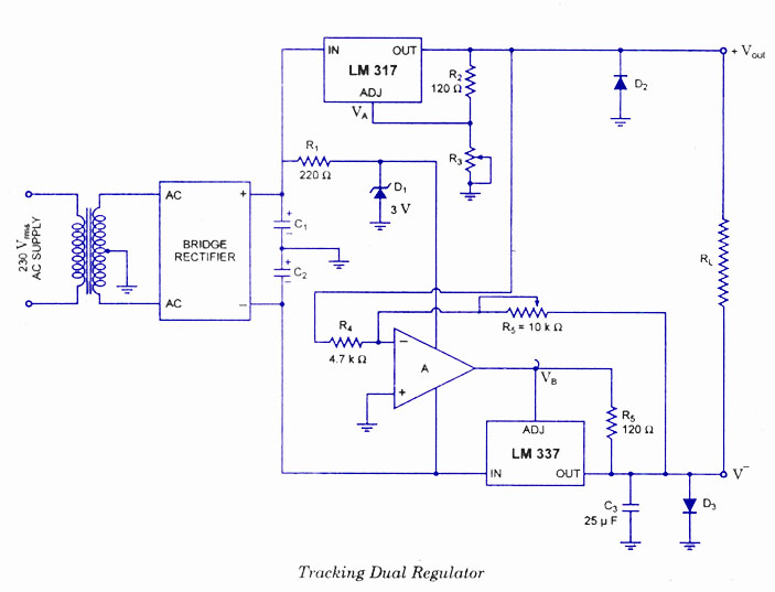 dual power supply using lm and lm audio wiring diagram dual power supply using lm 320 and lm 340