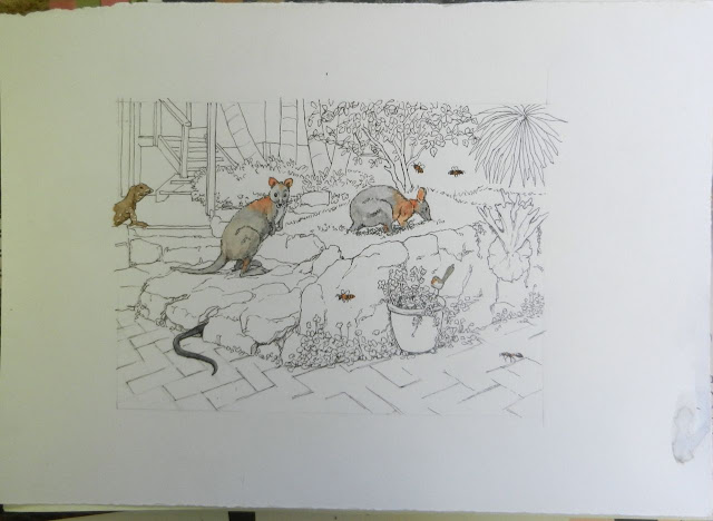 unfinished drawing of animals in the back garden