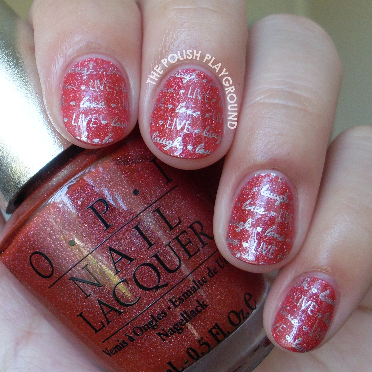 OPI DS Tapestry with Silver Live, Laugh, Love Stamping Nail Art