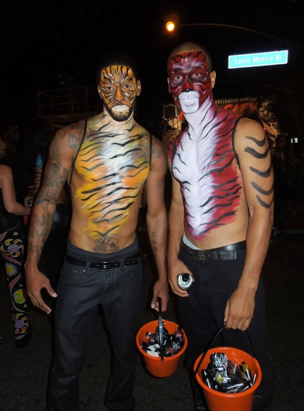 Tiger body paint West Hollywood Halloween 2013