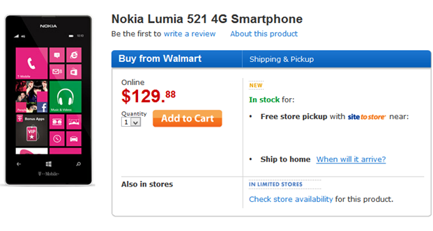 Nokia Lumia 521 sells out quickly on Walmart thanks to its $129 price