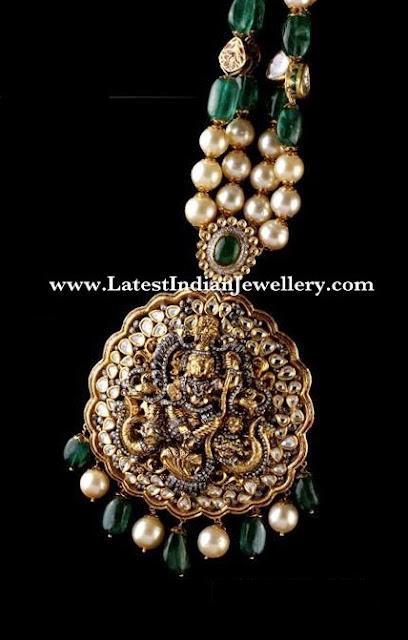 Kundan Work Temple Jewellery Design