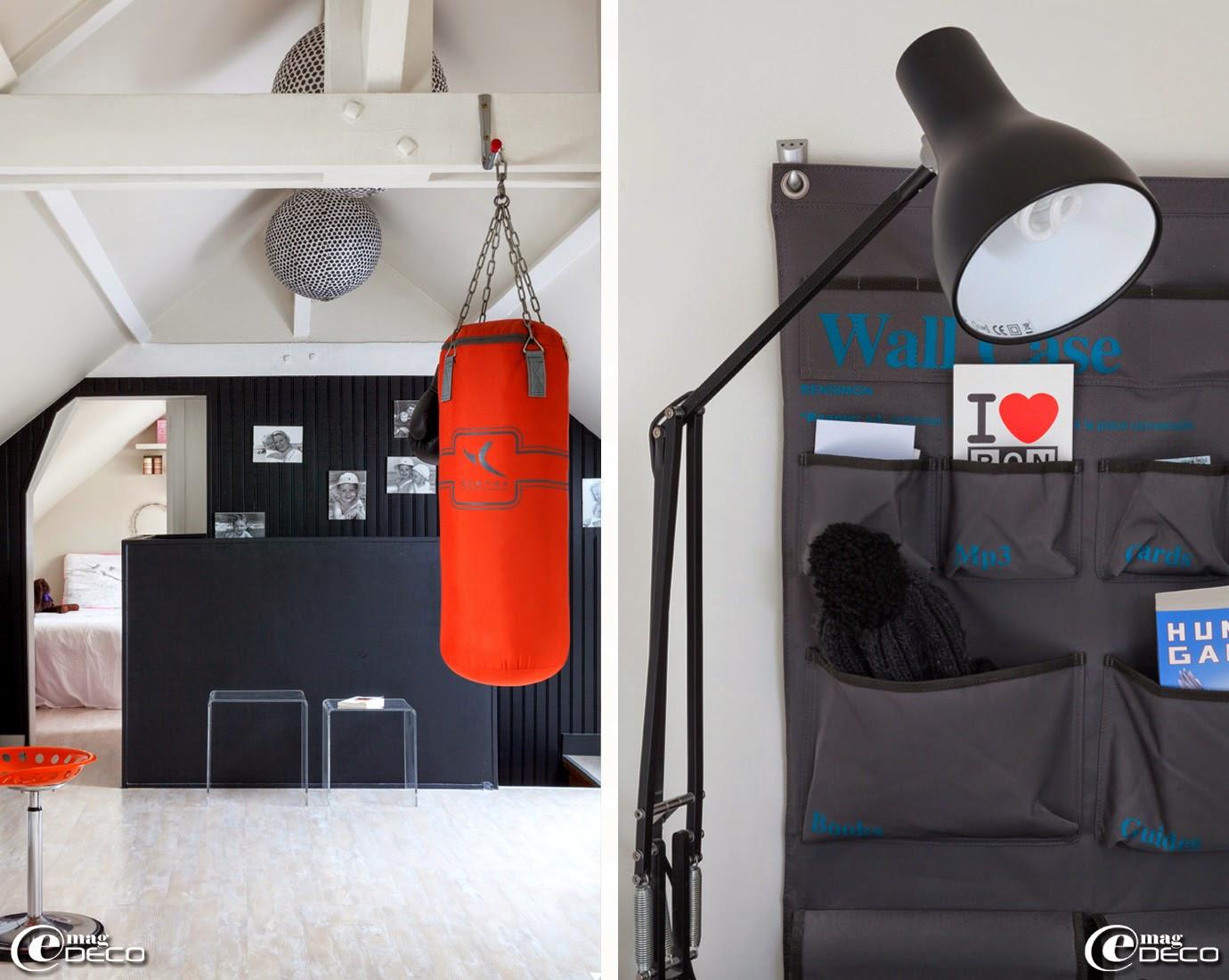 Tables gigognes en plexiglas 'Habitat', suspensions à poids 'Collection Paola Navone pour Monoprix', lampe d'architecte 'Anglepoise' et détail du vide-poche 'Wall Case' de 'Bensimon'