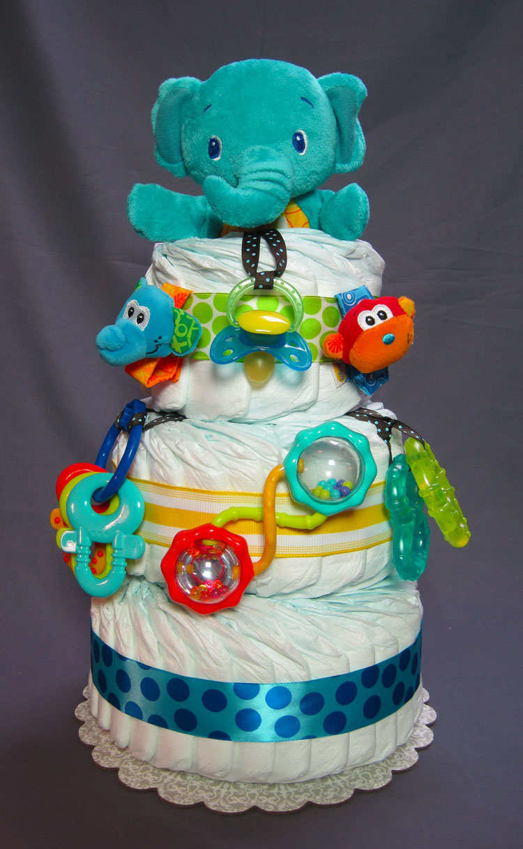 Elephant Safari Small 3 Tier Diaper Cake