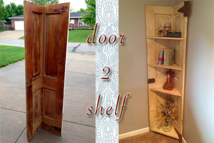 Another door turned corner shelf & DIY Why Spend More: Another door turned corner shelf