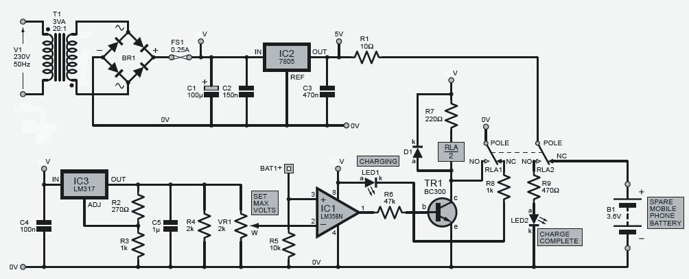 mobile phone battery charger circuit schematic with