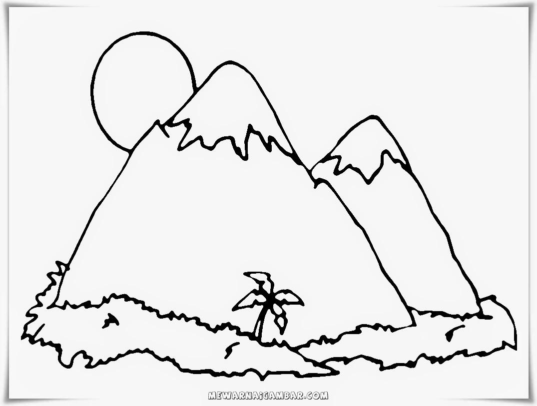 gambar mewarnai pemandangan pegunungan