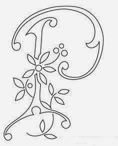P flower calligraphy monogram tattoo stencils