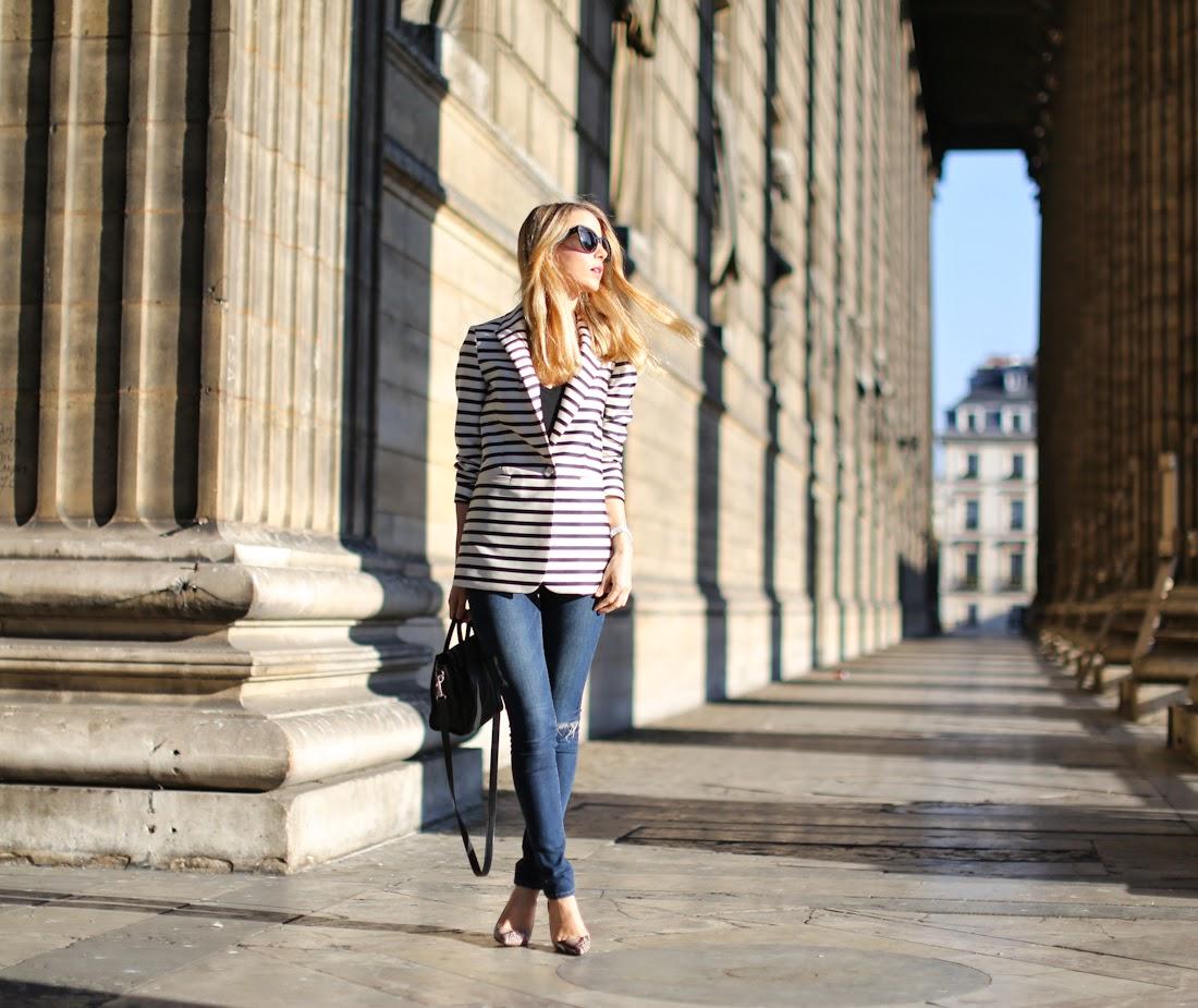 &otherstories, striped jacket, zara, python shoes, céline nano, ripped jeans, frame denim, paris, streetstyle, fashion blogger