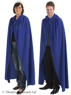 Blue hooded adult fancy dress cloak from Theatrical Threads