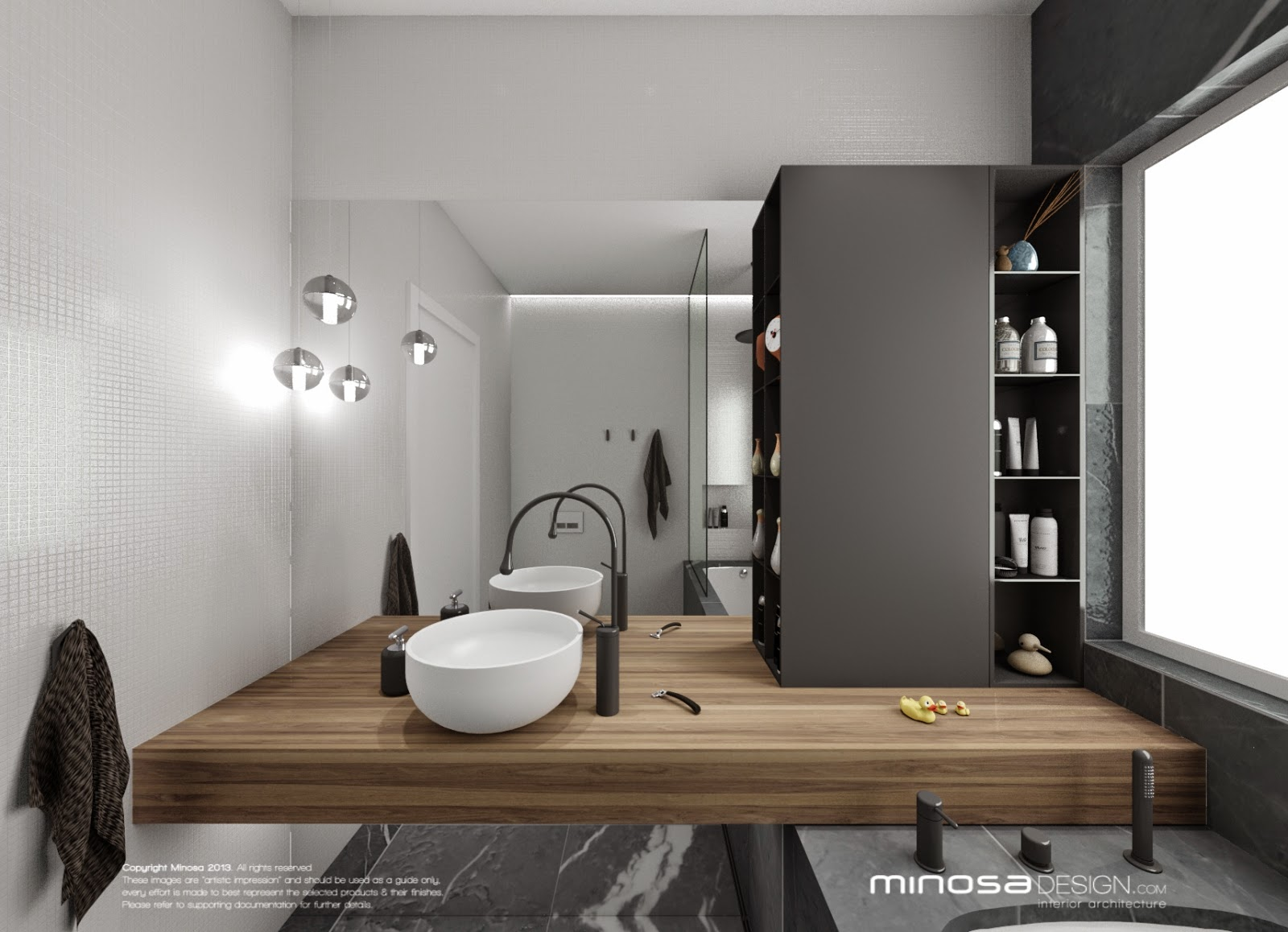 Minosa bathroom design small space feels large for Large bathroom designs pictures