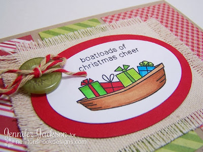 Boat card using SEAson's Greetings Stamp set from Newton's Nook Designs.