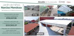 Entrega Américo Zúñiga techado en área deportiva y rehabilitación del Jardín de Niños Narciso Mendo