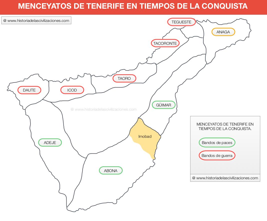 Menceyatos de Tenerife en tiempos de la conquista. Fuente: Elaboración propia. ©historiadelascivilizaciones.com