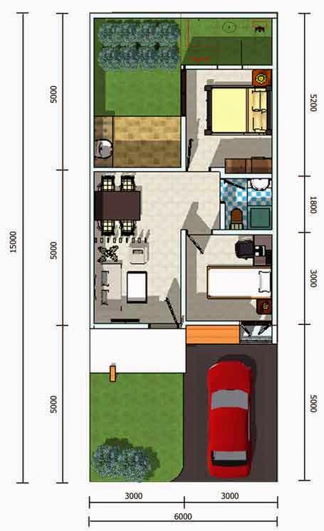 Contoh 5 Denah Rumah Minimalis Type 45