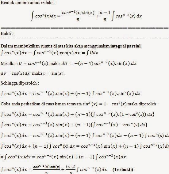 Pembuktian Rumus Reduksi Integral  Cos  X   N Dx