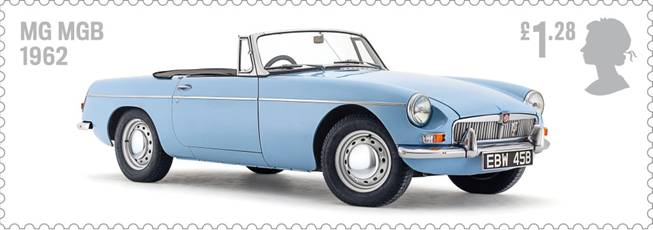 Royal Mail Auto Legends stamp with MGB