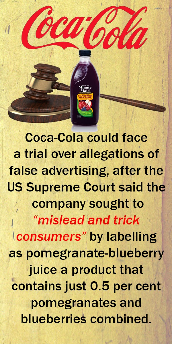 Misleading' juice label may land Coca-Cola in court