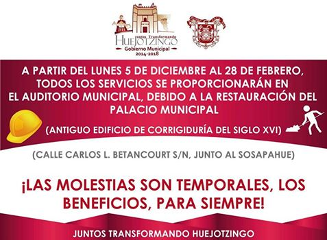 Ayuntamiento de Huejotzingo atenderá provisionalmente en el Auditorio Municipal
