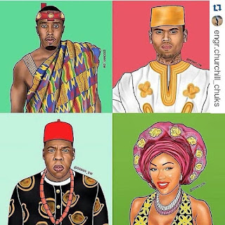 Check Out These Illustrations Of Puff Daddy, Chris Brow, Jay Z Wearing Nigerian Native Attires
