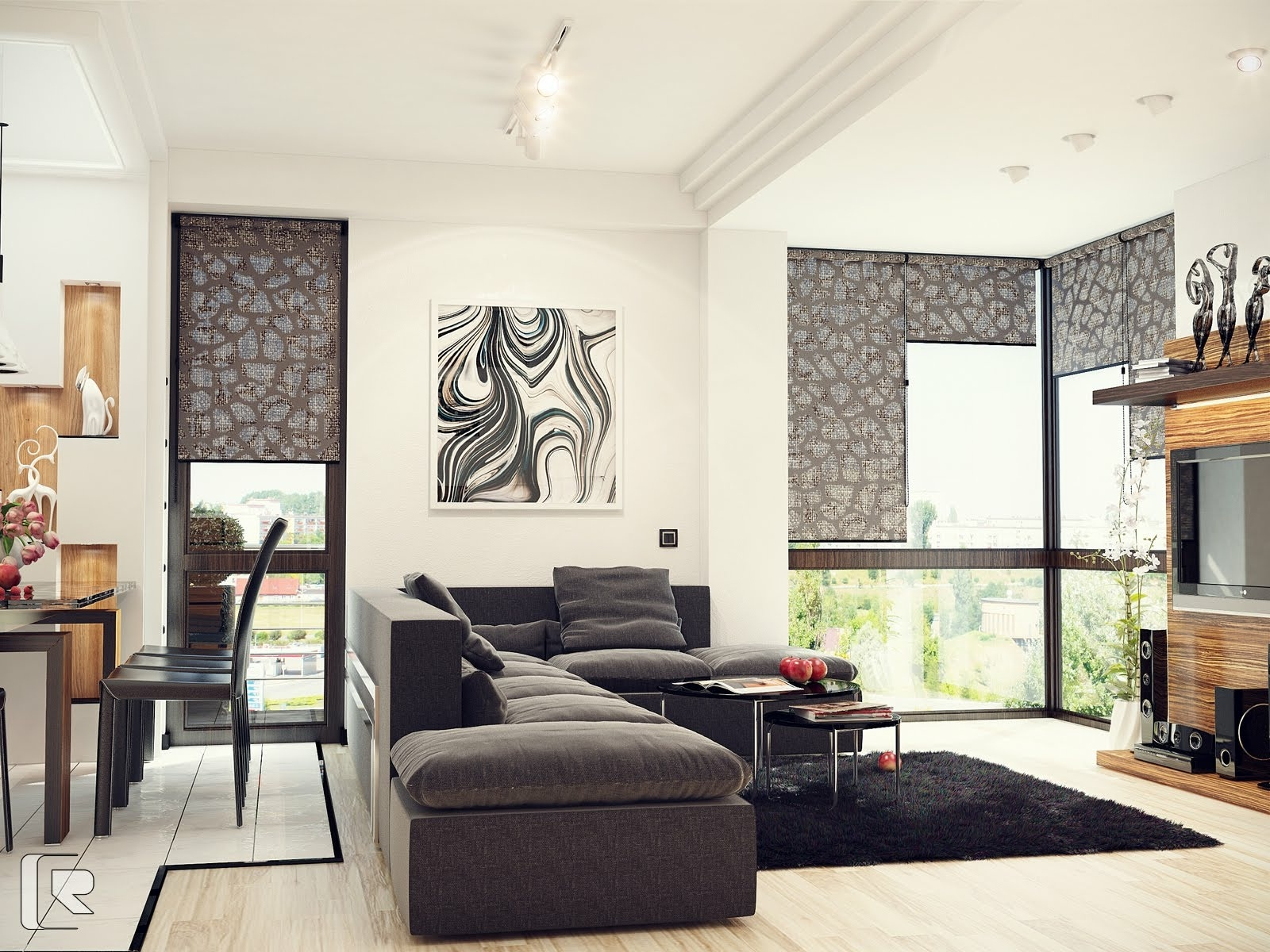 Easy living room ideas with black and white combo dream for Simple living room ideas