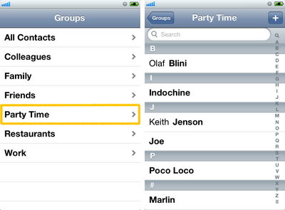 iPhone contacts groups - add, edit and delete
