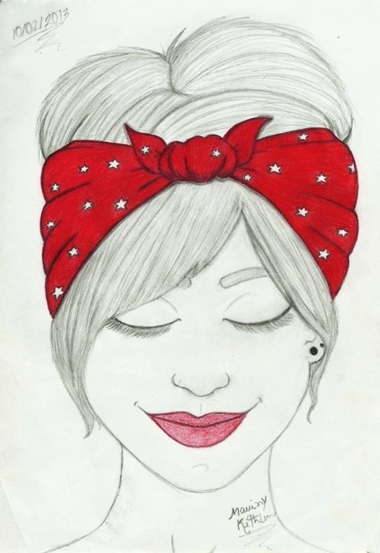 desenho garota com bandana vermelha