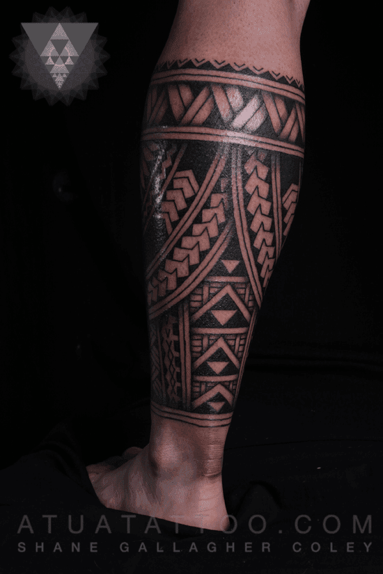 Atua tattoo polynesian leg tattoo tatau for Polynesian thigh tattoo