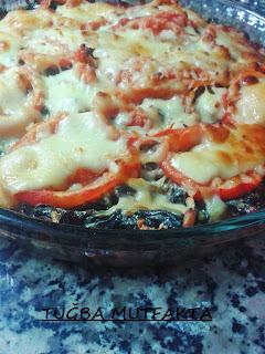 ıspanak ve mantarlı patlıcan