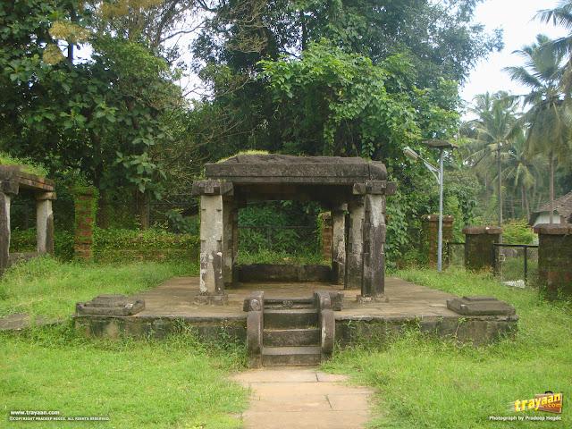 Structures inside the Kattale Basadi group, in Barkur, Udupi district, Karnataka, India