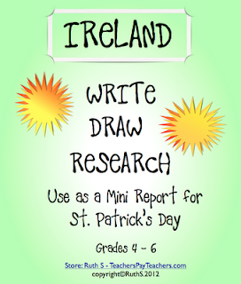 photo of Ireland Minir eport for St. Patrick's Day ruth s, ireland, St. Patrick's Day, maps, research, social studies, write, draw