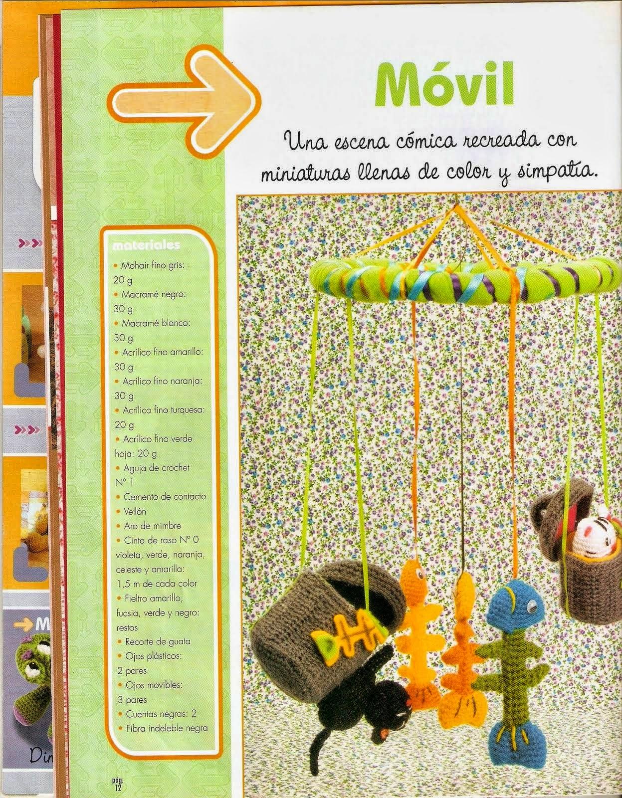 Móvil para el cuarto del bebé tejido al crochet con explicación