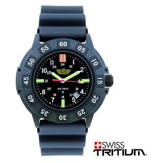Campco UZI-001-R Black Face Glowing UZI Tritium Protector Watch w/ Rubber Strap