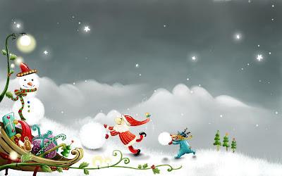mueco de nieve y santa claus snowman and santa claus 1920x1200 wallpaper