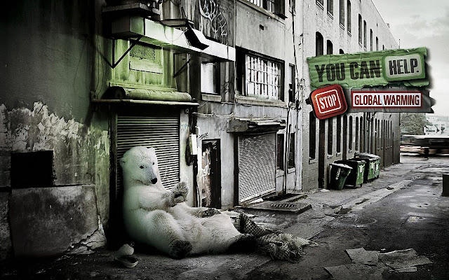 homeless, polar bear, advertisment, global warming