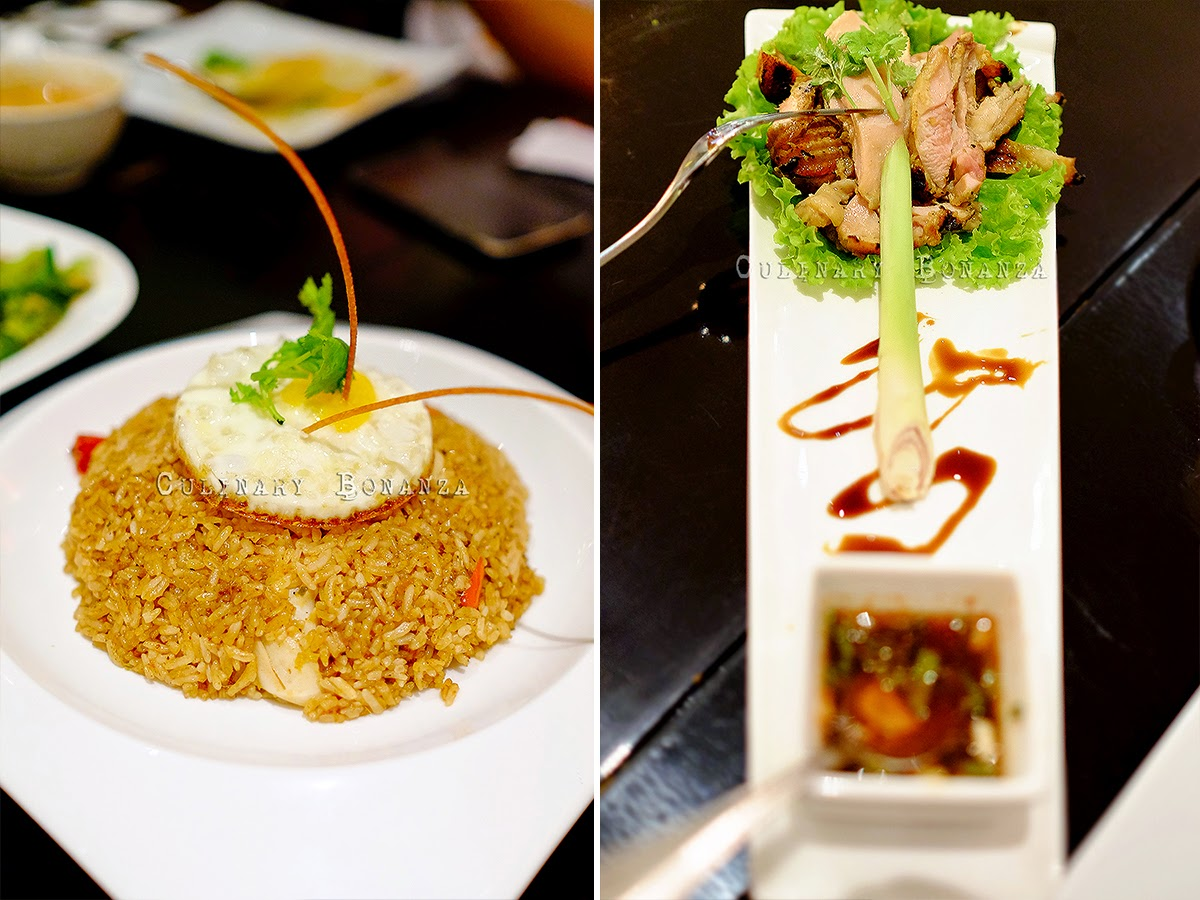 Left: Tom Yum Seafood Fried Rice | Right: Grilled Chicken Thigh With Lemongrass served with jim jauw sauce